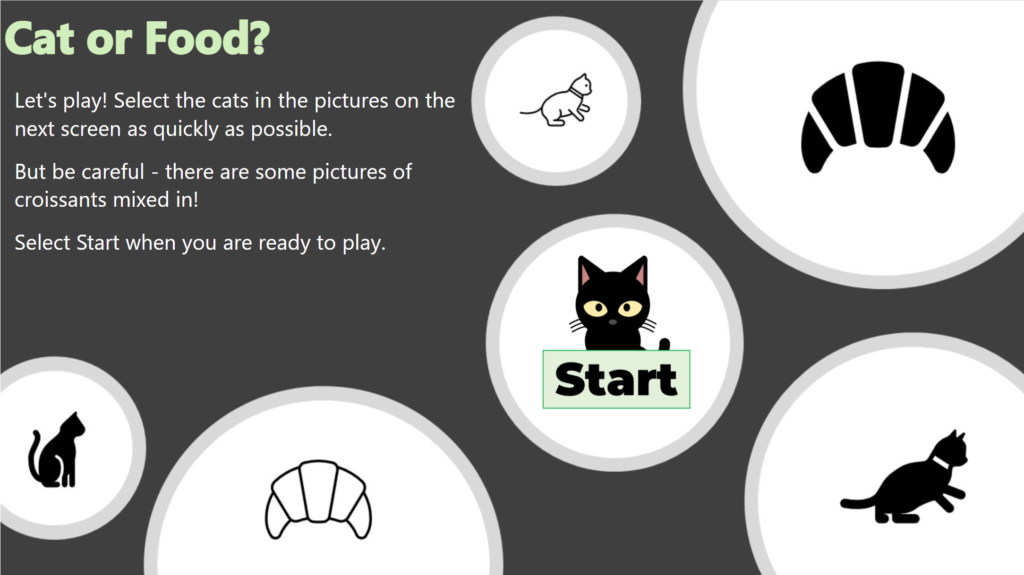 Start Screen for the Cat or Croissant Game